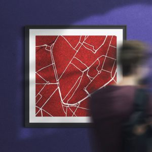 Brussels, red wine, square, framed wall art print
