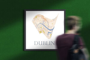 Dublin custon square frame city map