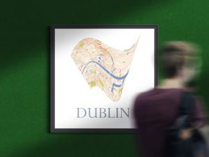 Dublin custon square frame city map