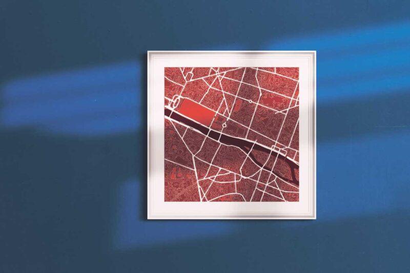"Paris Framed ""Cool Blue"" City Map 3"