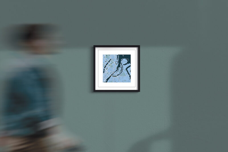 "Copenhagen Framed Wall Art Print  ""Cool Blue"" City Map 1"