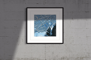 barcelona, cool blue, framed print