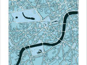 """London , """"cool blue"""" colour scheme, square print"""