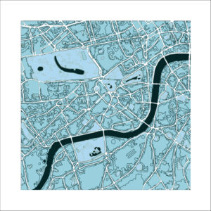 "London , ""cool blue"" colour scheme, square print"
