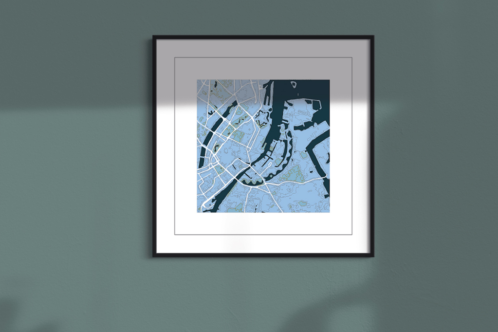 Copenhagen cool blue square frame wall art print
