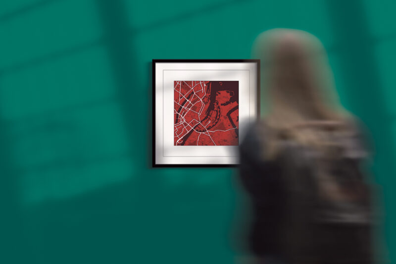 "Woman studying Copenhagen ""red wine"" print on vivid green background"
