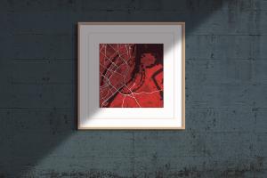 "Copenhagen ""red wine"" print on blue-grey distressed background"