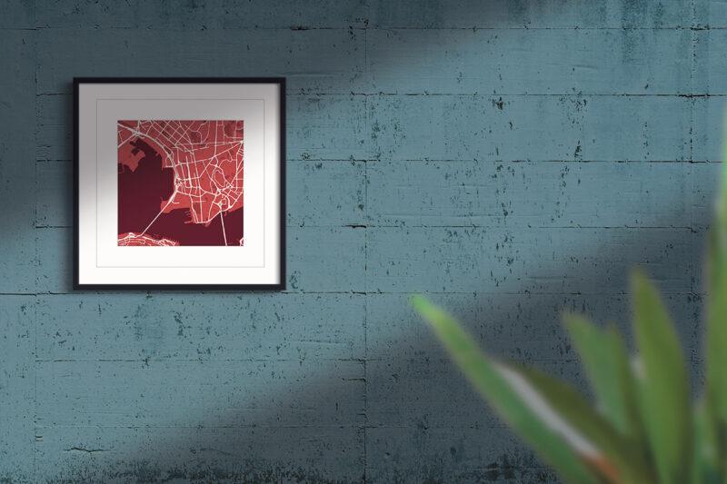 Hong Kong red wine square framed wall art print