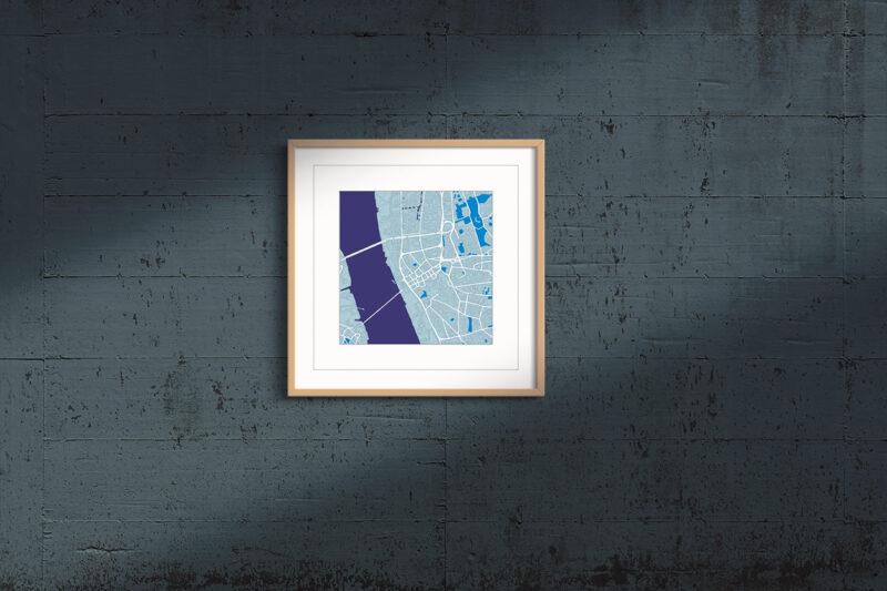 "Liverpool Framed Wall Art Print  ""Cool Blue"" City Map 1"