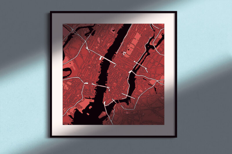 "New York Framed ""Red Wine"" City Map 1"