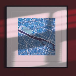 paris cool blue square,framed city map