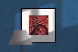 rotterdam red wine square framed wall art print