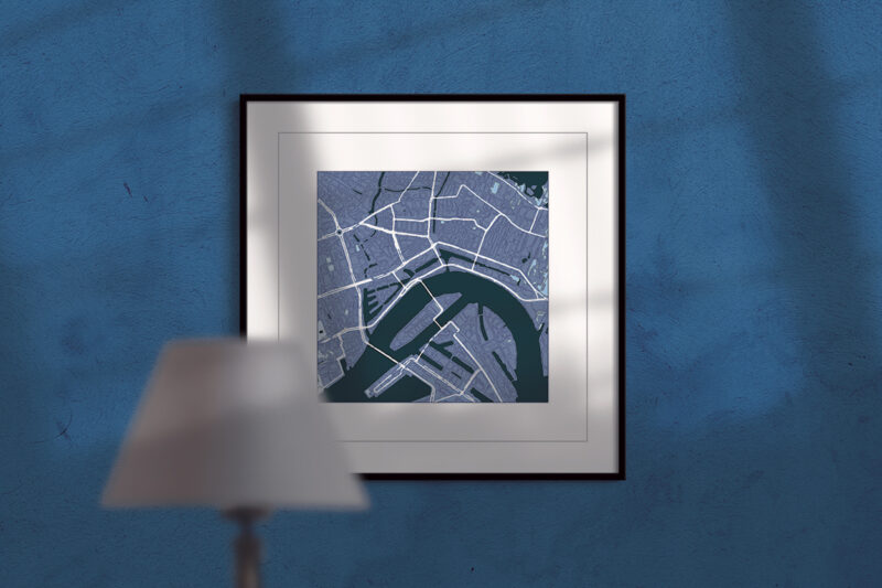 rotterdam, cool blue, square framed wall art, city map